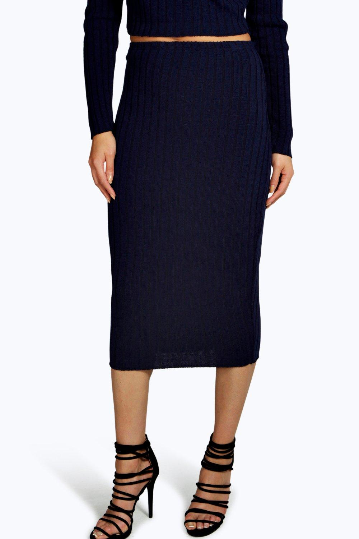 boohoo womens eleanor rib knit midi skirt ebay
