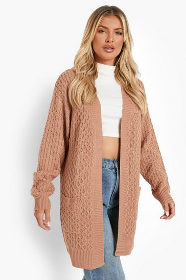 Camel Cable Cardigan With Pockets