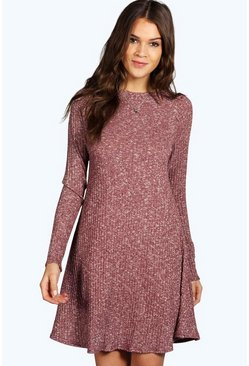 Grace Rib Knit Turtle Neck Swing Jumper Dress