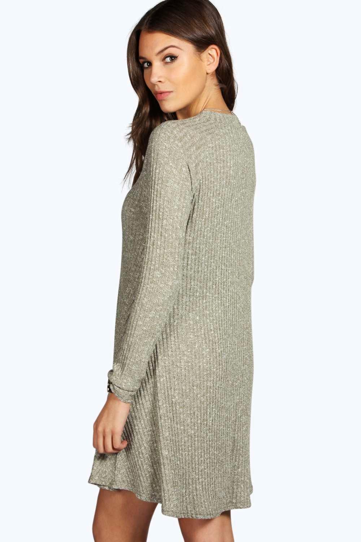 Boohoo Womens Grace Rib Knit Turtle Neck Swing Jumper Dress eBay