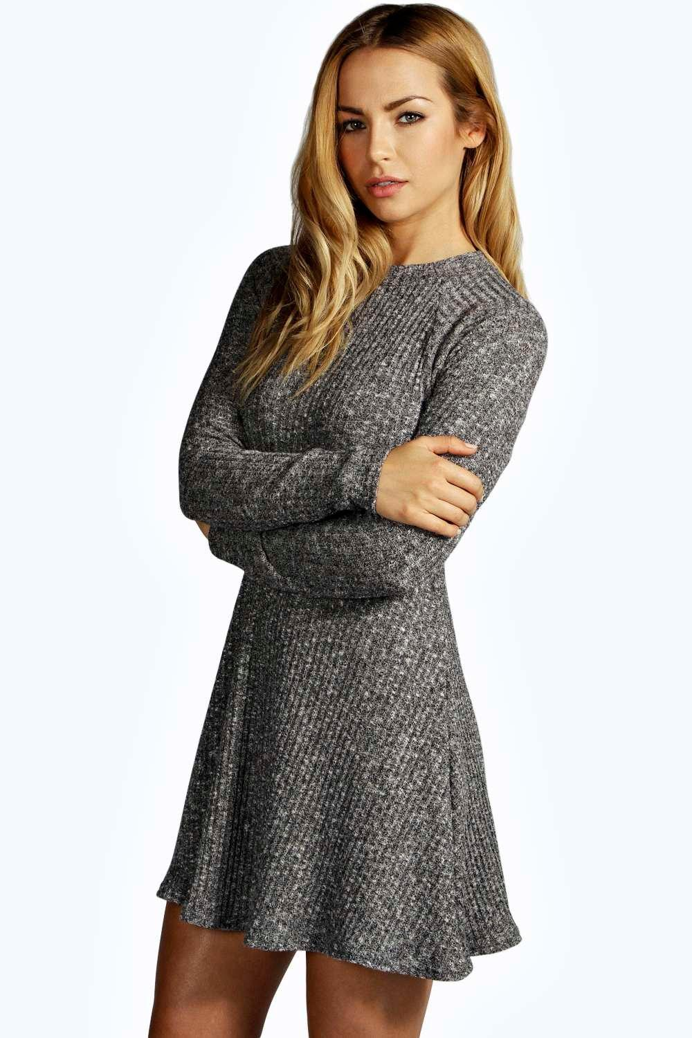 Knitting Pattern Jumper Dress : Grace Rib Knit Turtle Neck Swing Jumper Dress at boohoo.com