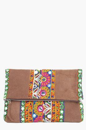 Boutique Amy Embroidered Fold Over Clutch