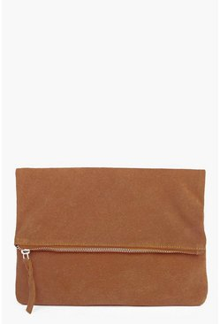 Boutique Abigail Suede Fold Over Clutch