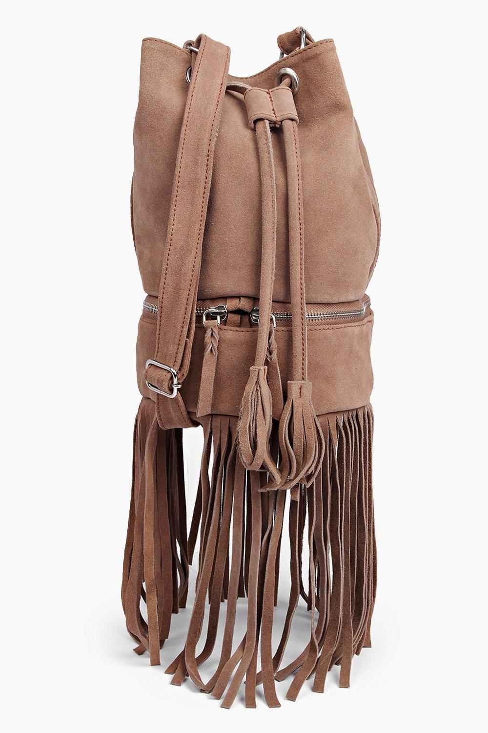 Boutique Lola Suede Fringed Duffle Bag