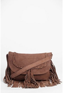 Boutique Kayla Suede Fringed Cross Body Bag