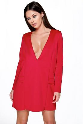 Lory Sleeve Plunge Shift Dress
