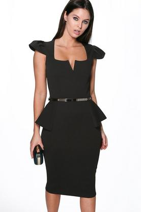 Lara Belted Structured Peplum Dress