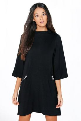 Sally Polo Neck Swing Dress