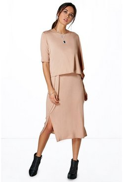 Kayla Split Oversized Double Layer Midi Dress