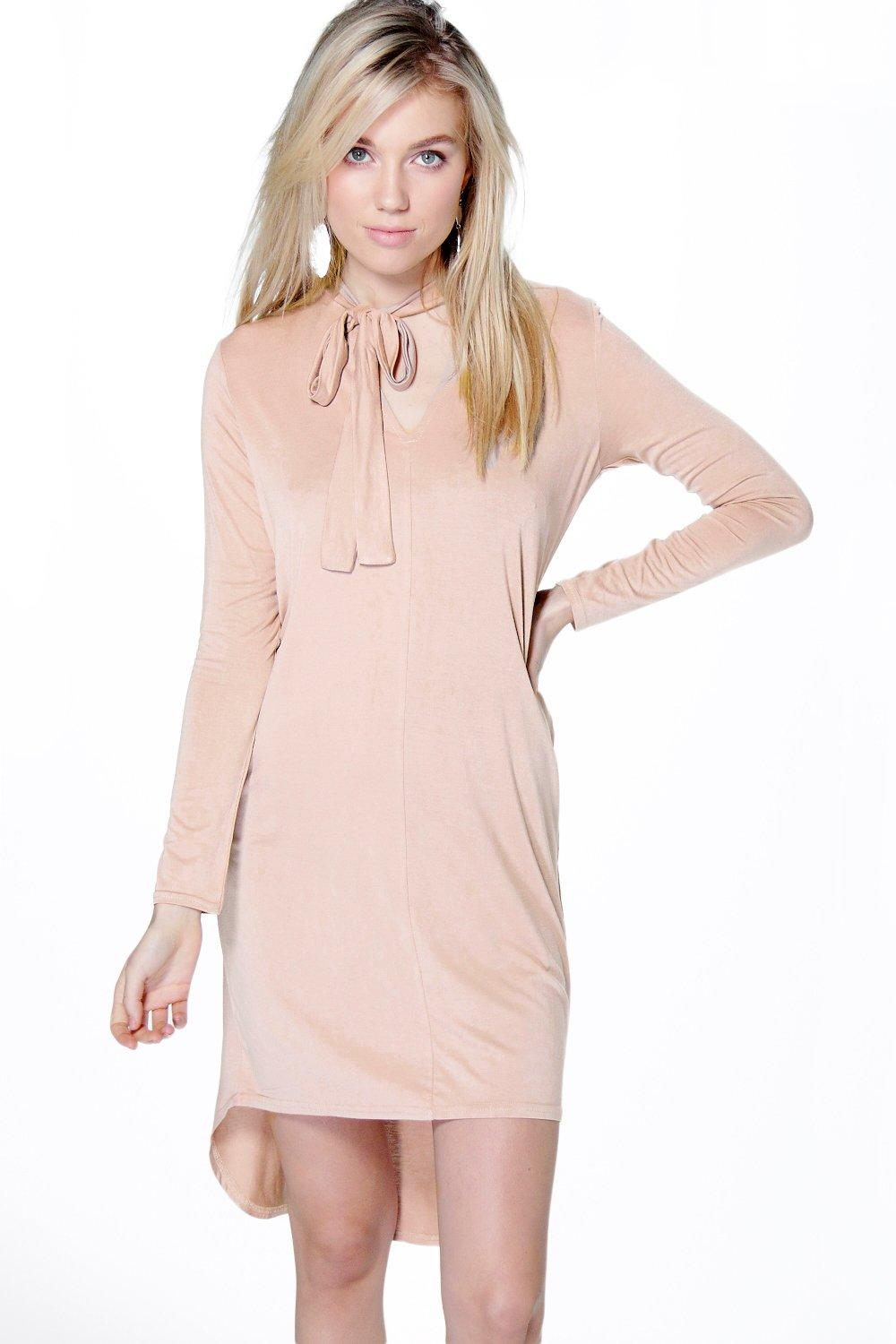 Bella Tie Neck Dipped Hem Shift Dress