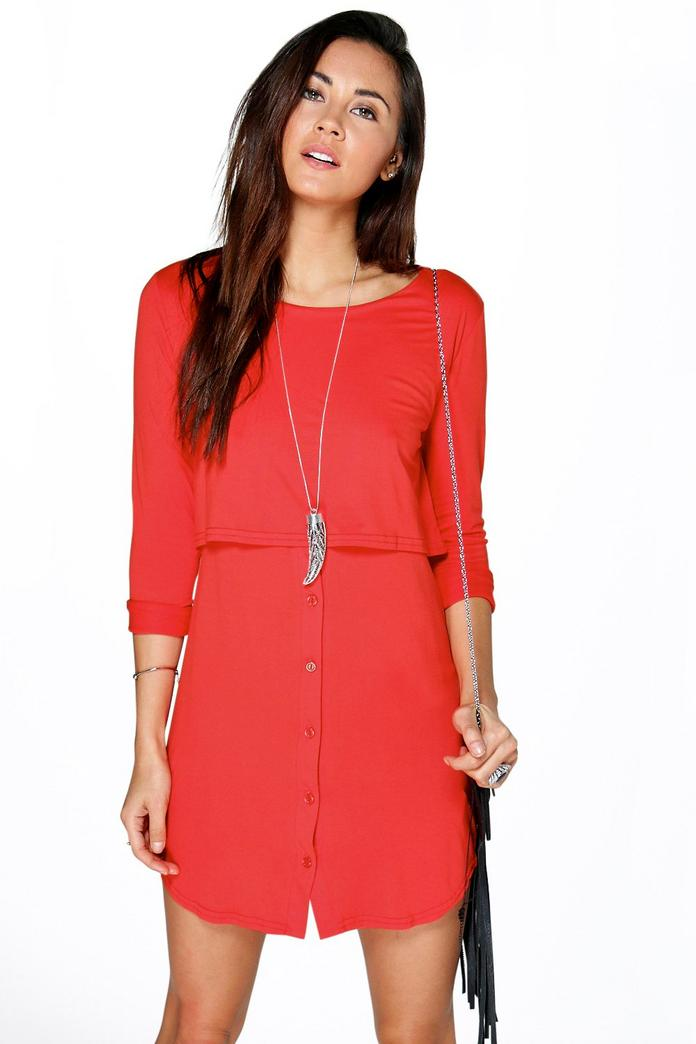 Lilly Double Layer Long Sleeve Shift Dress - Boohoo
