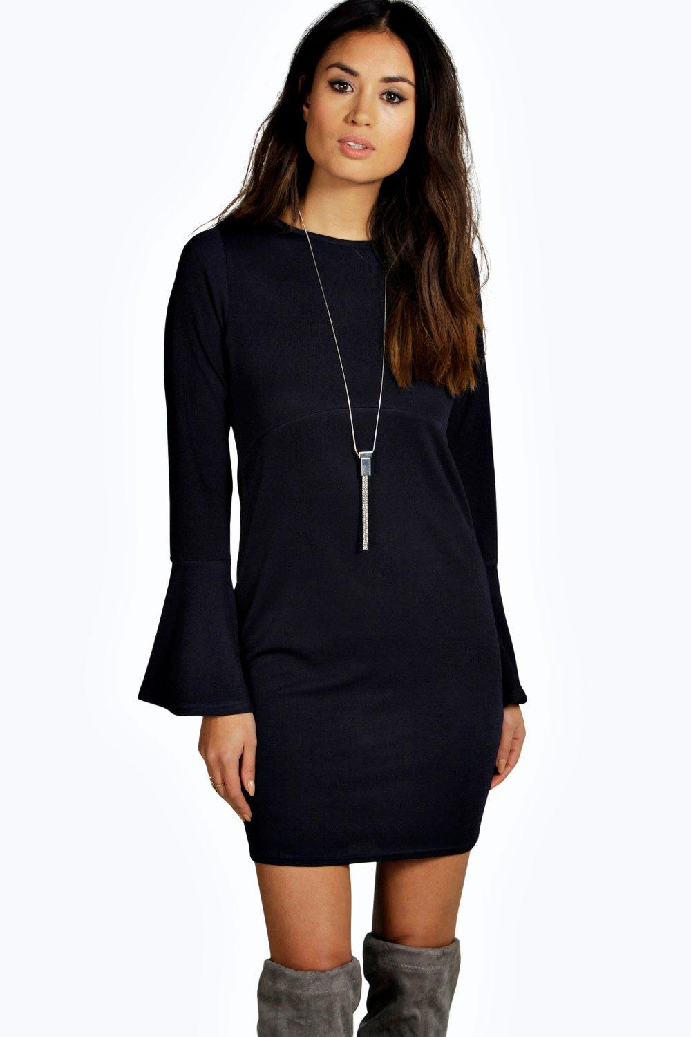 Sarah Empire Seam Flare Sleeve Bodycon Dress