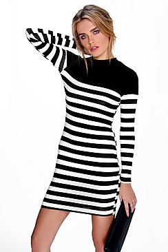 Hollie Contrast Stripe High Neck Bodycon Dress