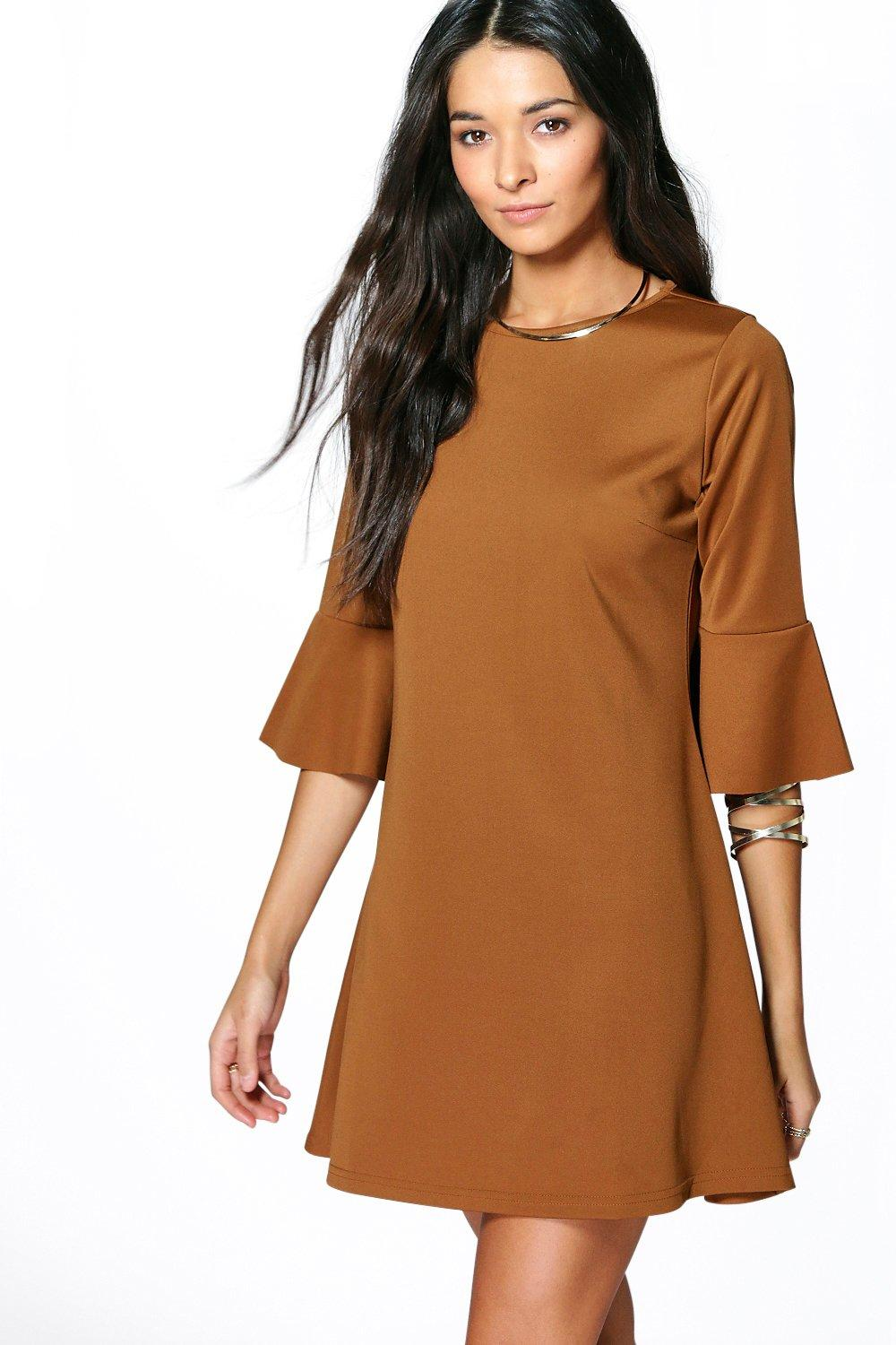 Sarah Textured Flute Sleeve Shift Dress