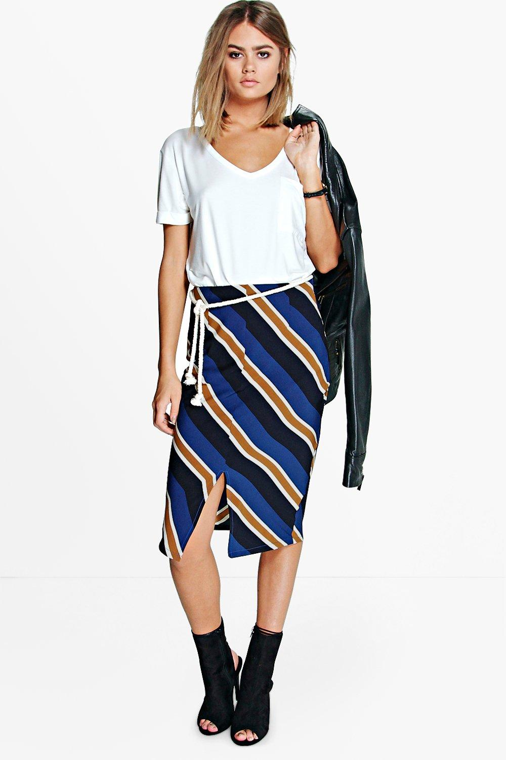 Alina Striped Woven Front Split Midi Skirt