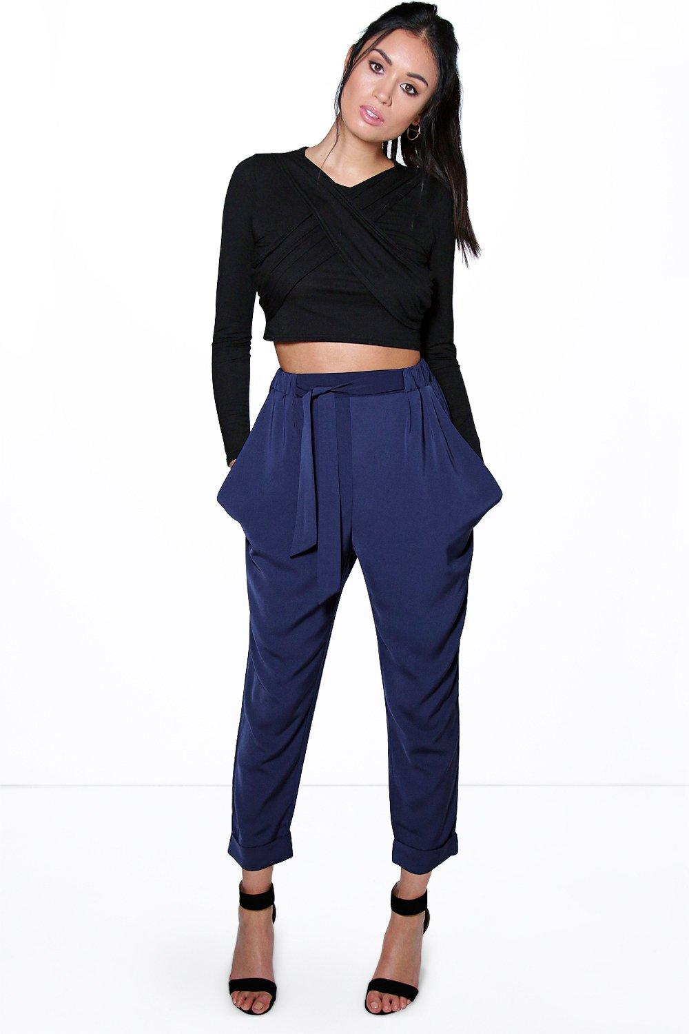 Alani Turn Up Tie Waist Cargo Trousers