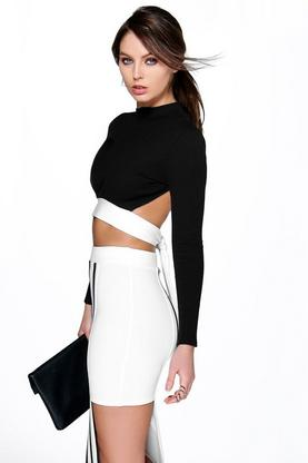 Skye Mono Rib Open Tie Back Crop