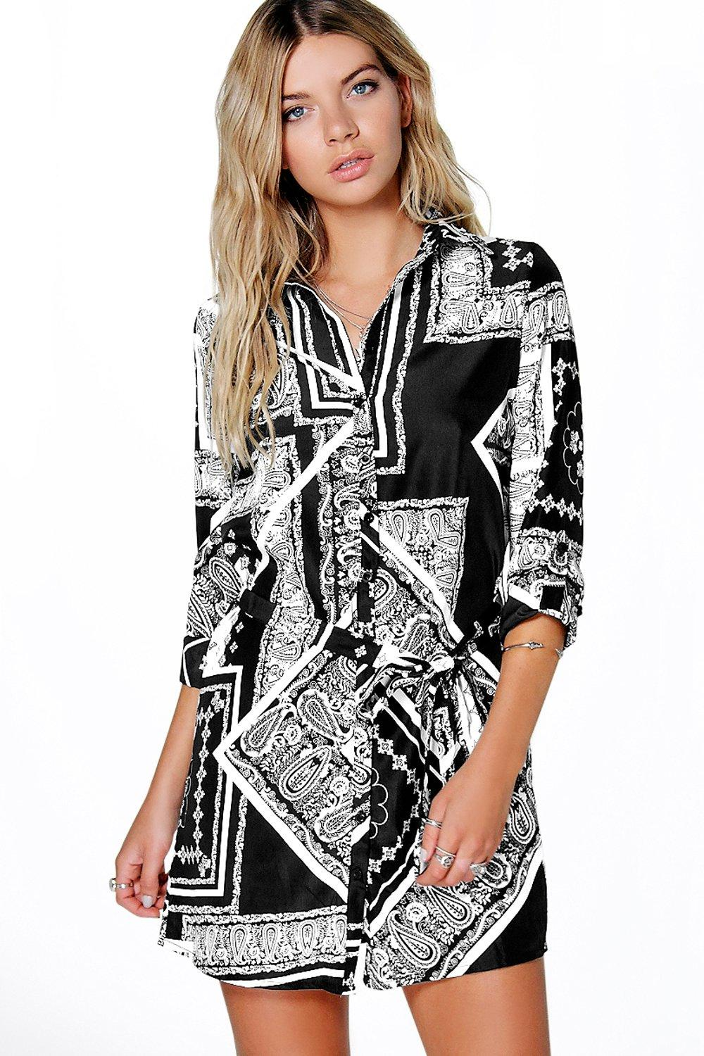 Mono Print Belted Shirt Dress  black
