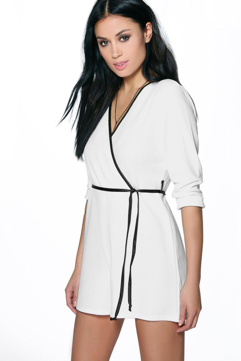 Lola Leather Look Trim Wrap Belted Playsuit