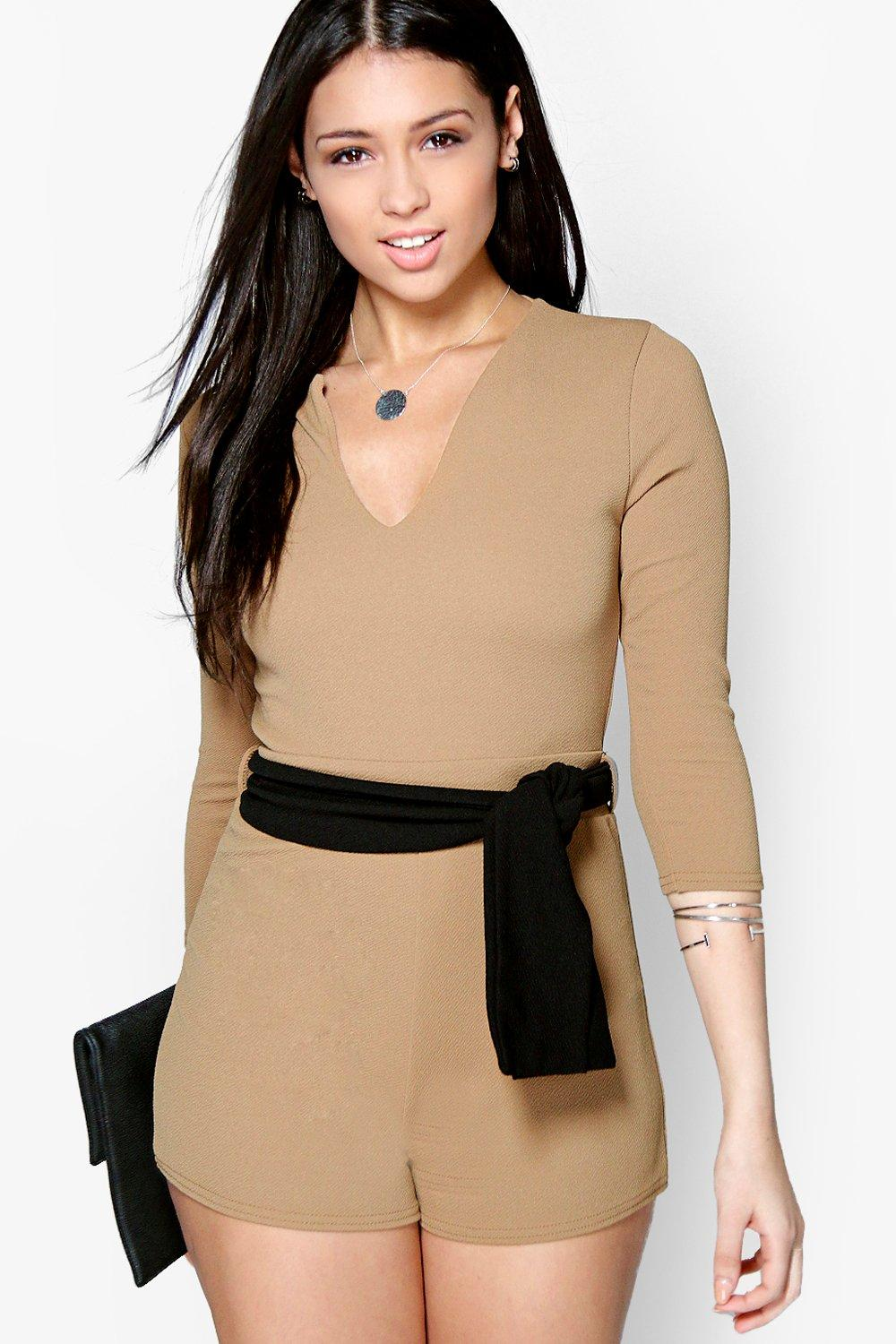Holly V Neck Obi Belt 3/4 Sleeve Playsuit