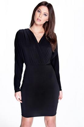 Sarah Batwing Wrap Over Slinky Dress