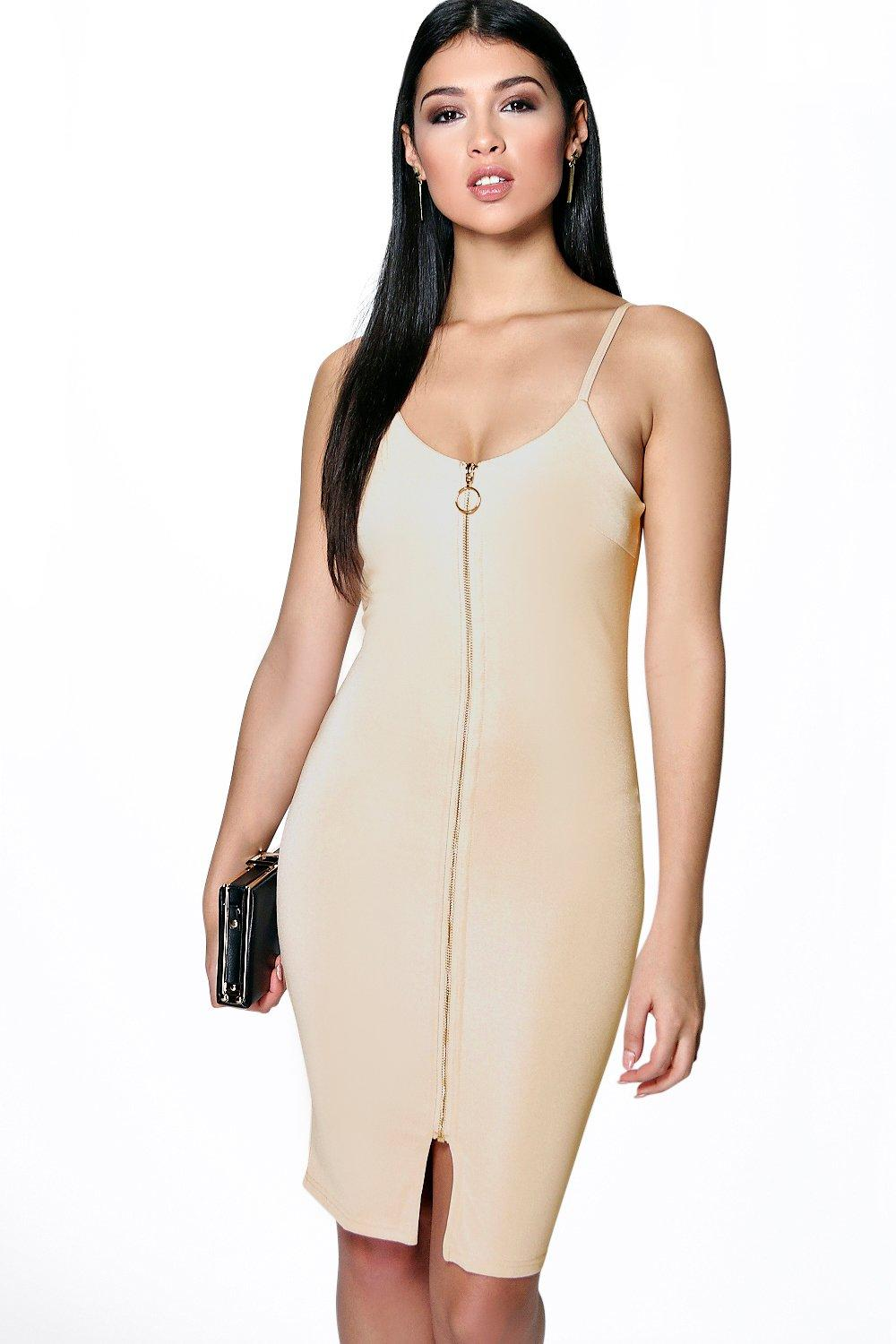 Helen Strappy Pull Zip Front Bodycon Dress