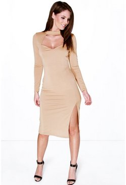 Maya Cut Out High Neck Midi Dress