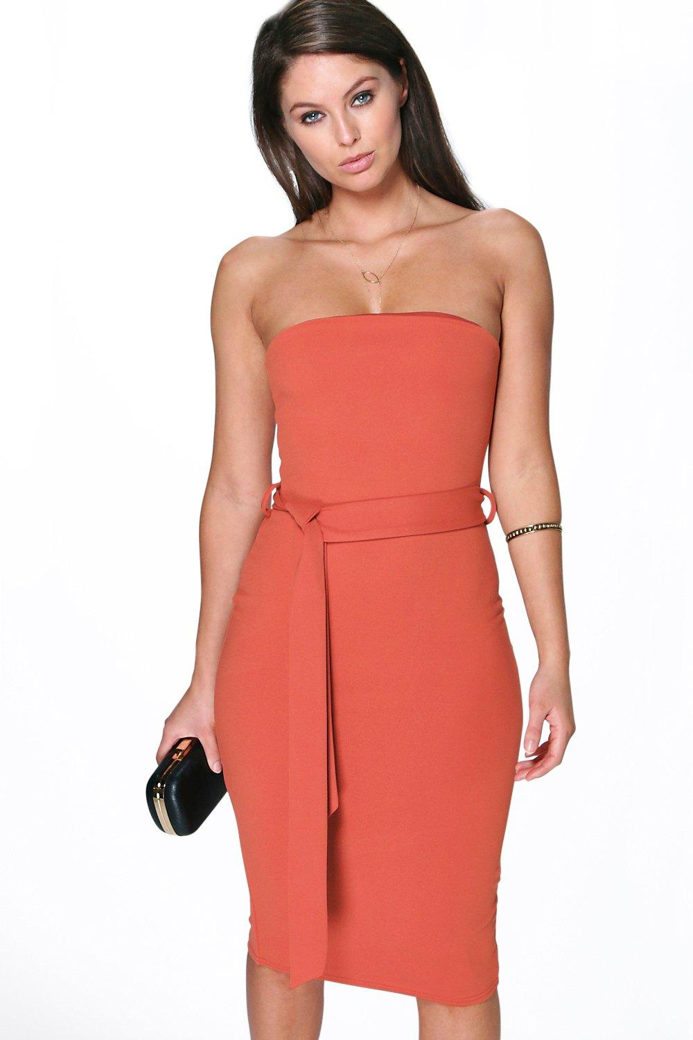 Lizzie Bandeau Tie Belt Midi Dress