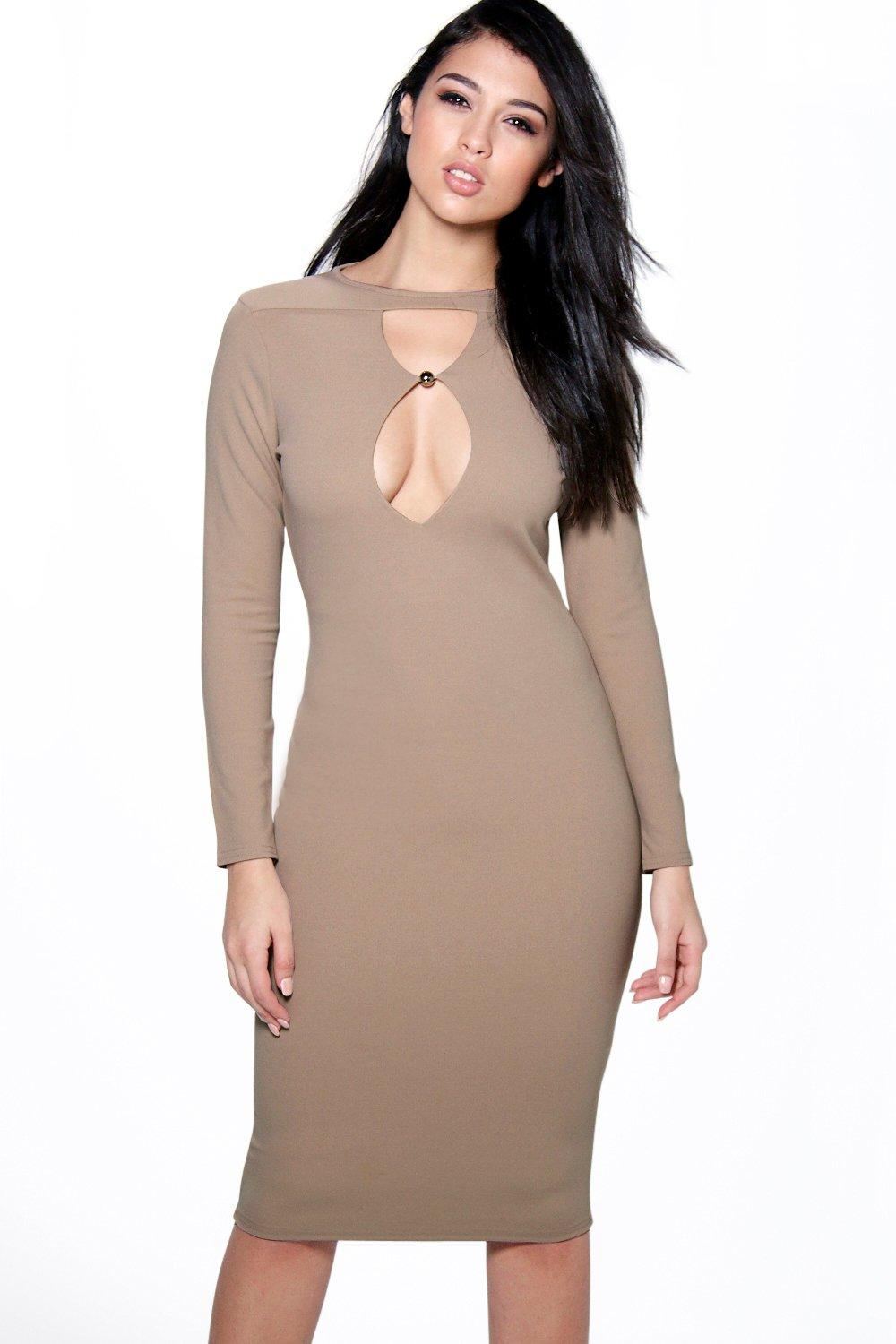 Grace Keyhole Trim Detail Midi Bodycon Dress