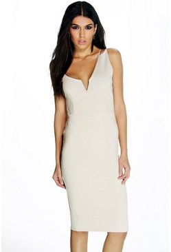 Norah Asymmetric Plunge Midi Dress