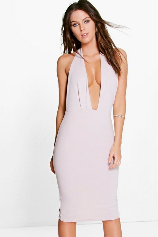 Layla Plunge Neck Halter Midi Dress