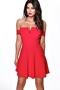 Elizabeth Off The Shoulder Bodice Skater Dress