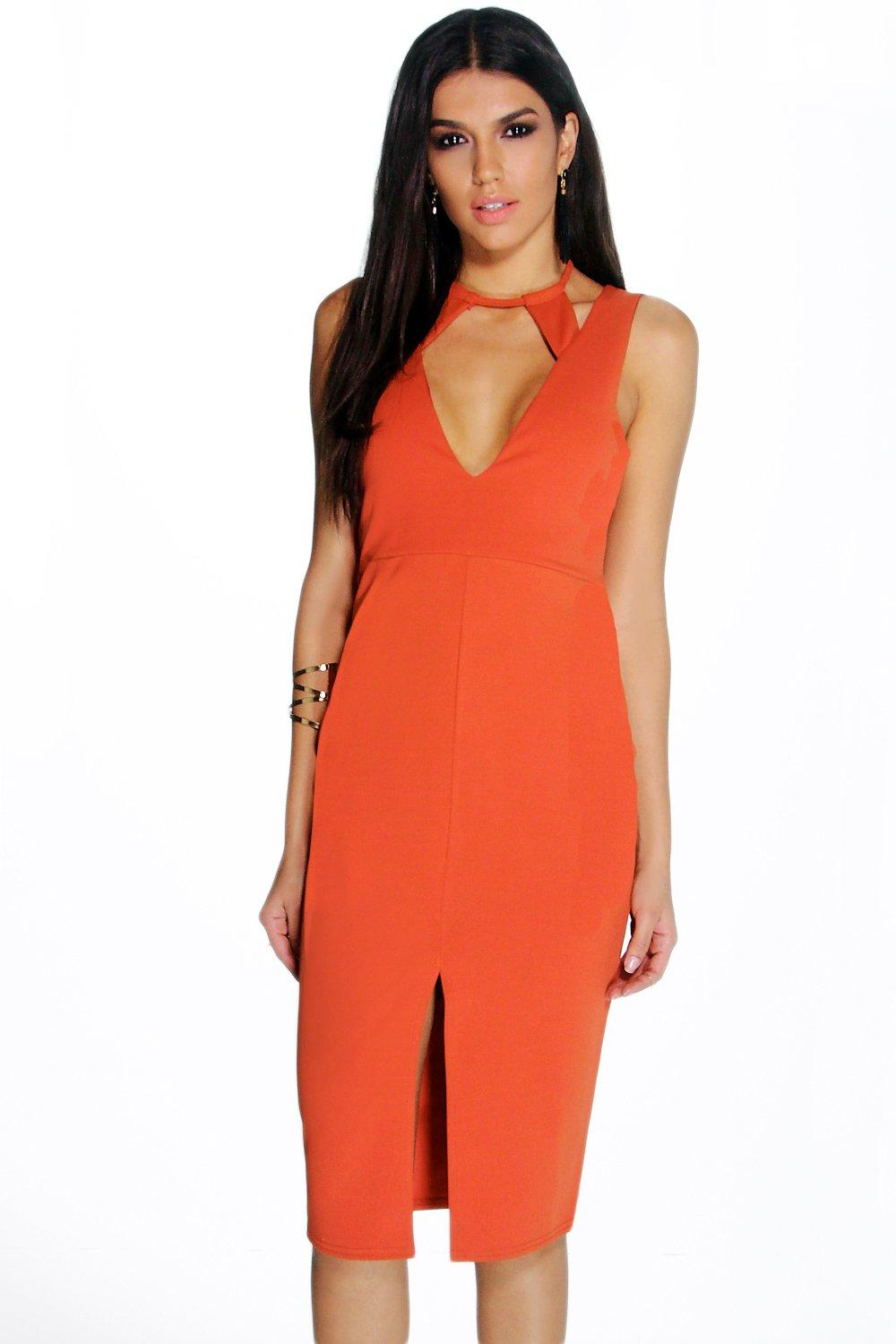 Millie Cut Out Detail Front Split Midi Dress