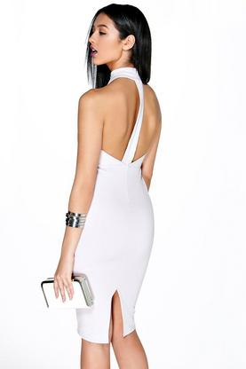 Angela High Neck Strap Back Detail Midi Dress