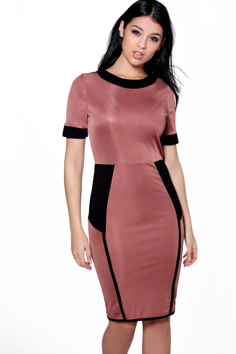Lorna Contrast Panelled Midi Dress