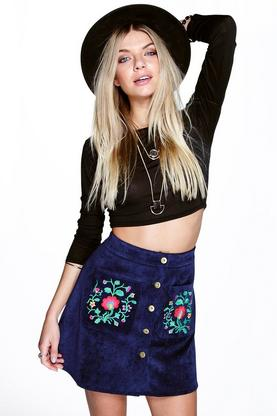 Ziah Pocket Front Embroidered A Line Skirt