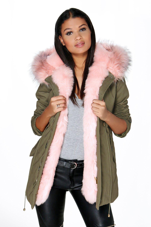 Maria Faux Fur Trim Parka - pink