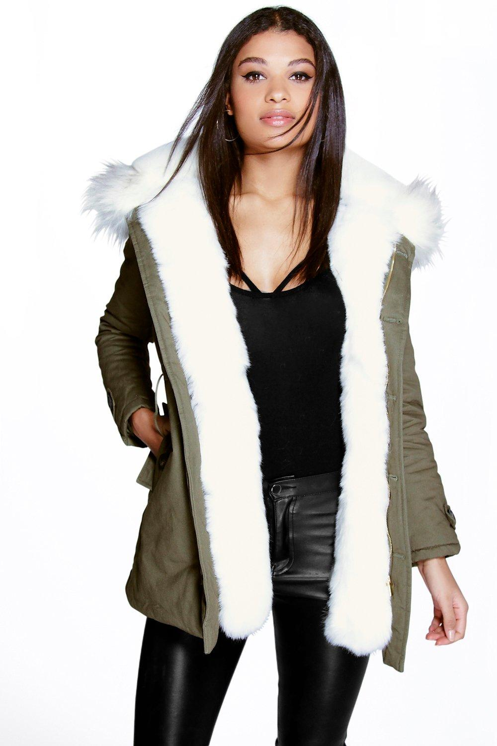 Maria Faux Fur Trim Parka - white