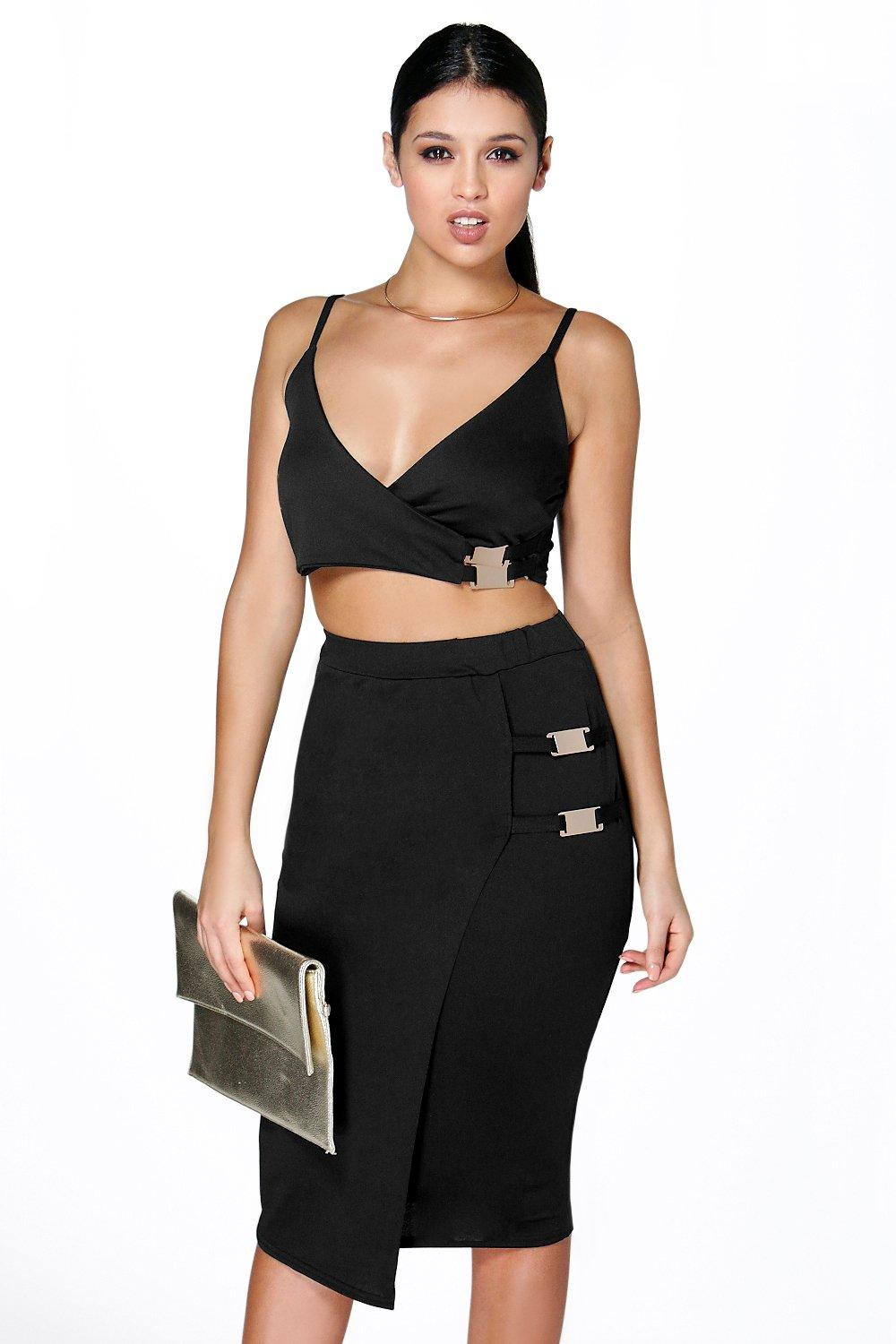 Pamela Buckle Crop & Midi Skirt Co-Ord Set
