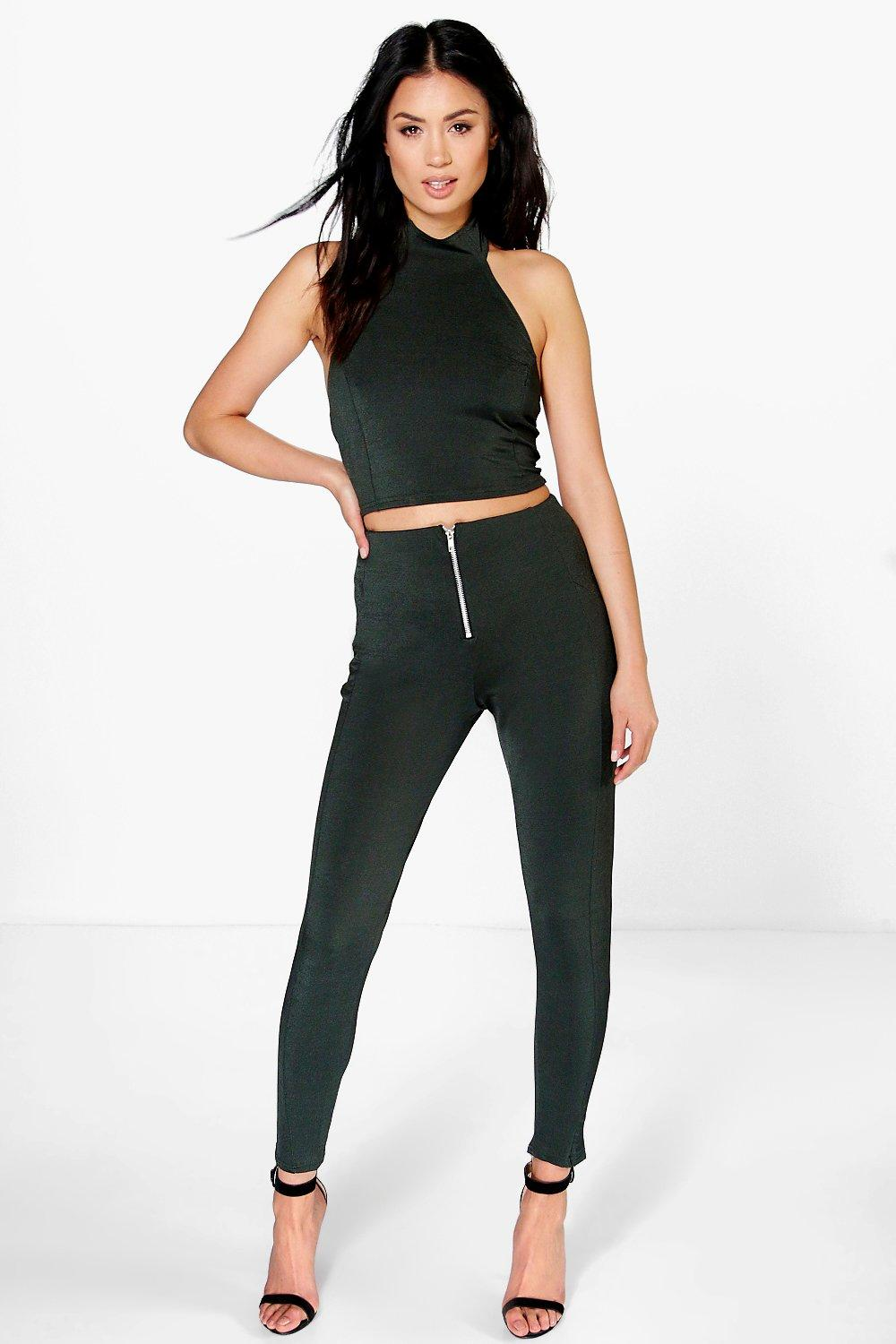 Mona Skinny Trouser& Crop Top Co-Ord Set