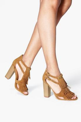 Eva Block Heel Fringe And Stud Sandal