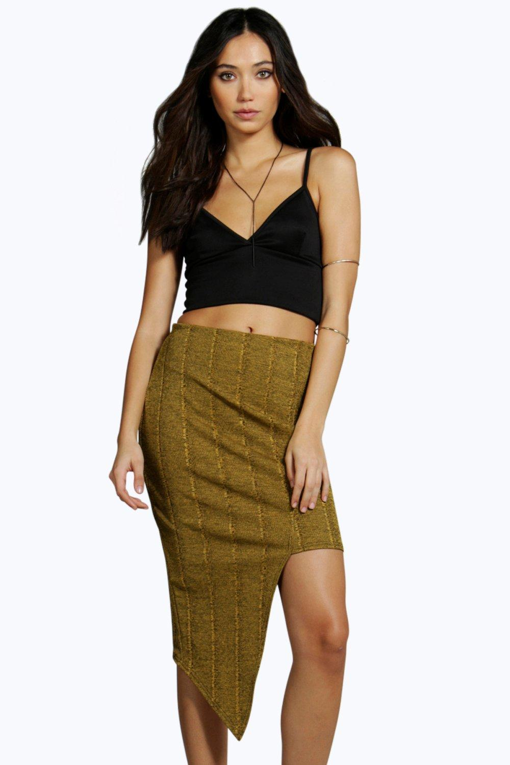 Asymetric Cut Side Bandage Skirt - mustard