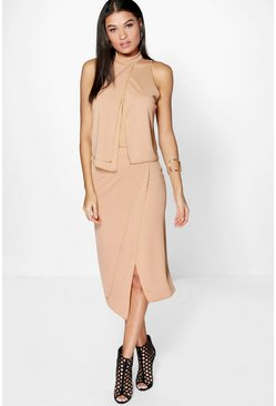 Evie Layered Crepe Midaxi Skirt