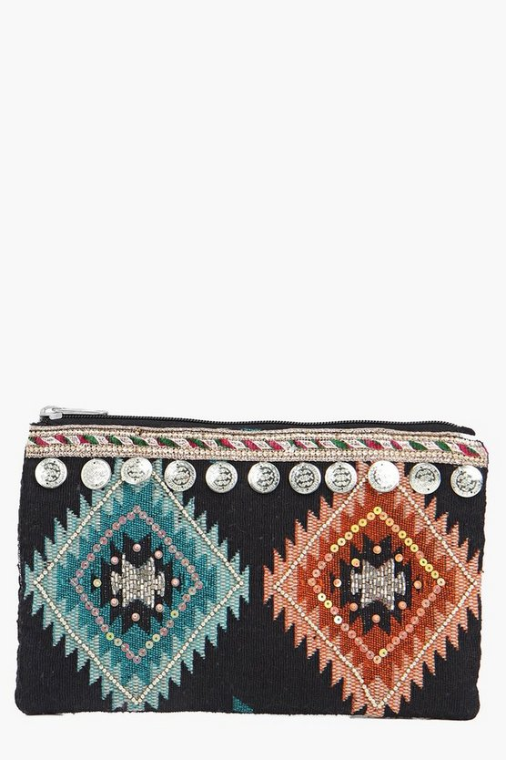 Lacey Coin Embellished Zip Top Clutch Bag