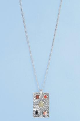 Amelie Stone Hammered Pendant Necklace
