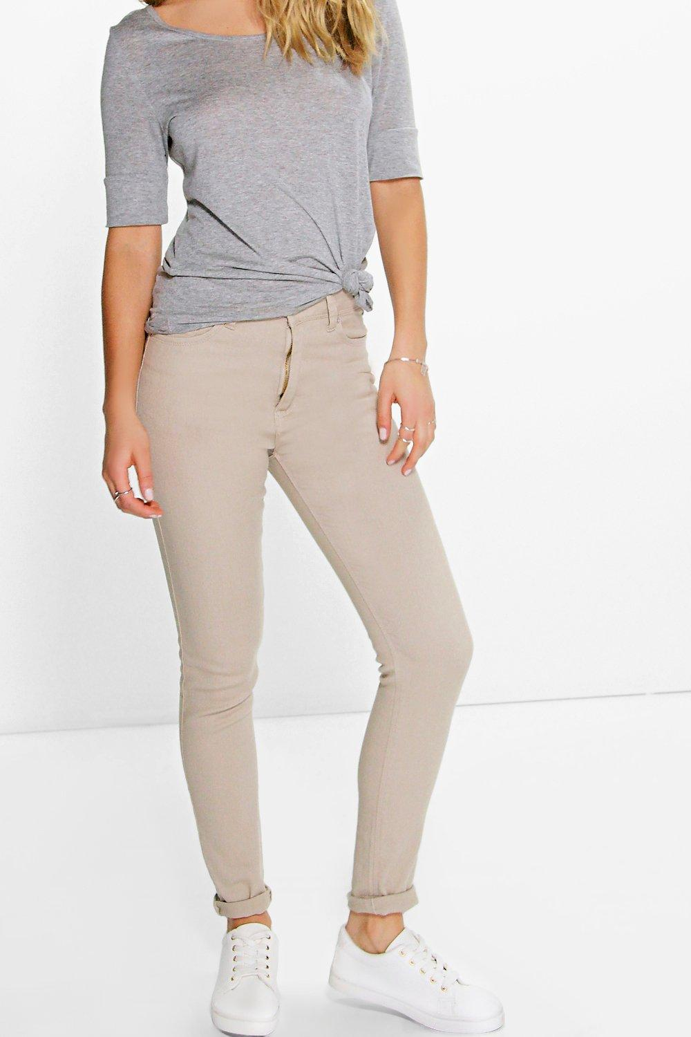 Amy 5-Pocket High Rise Stone Skinny Jeans