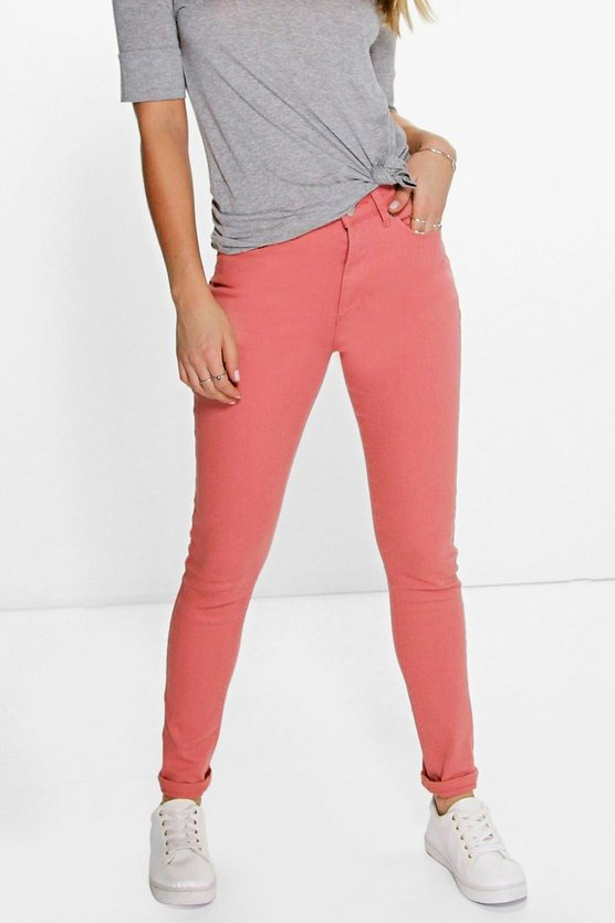 Amy 5-Pocket High Rise Pink Skinny Jeans