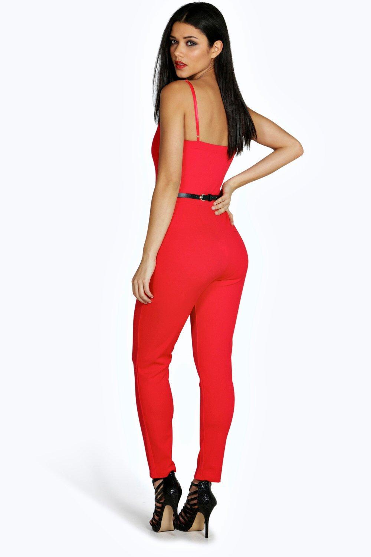 Jenny Plunge Belted Jumpsuit at boohoo.com