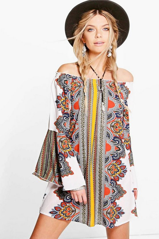 Tisha Scarf Print Off The Shoulder Dress