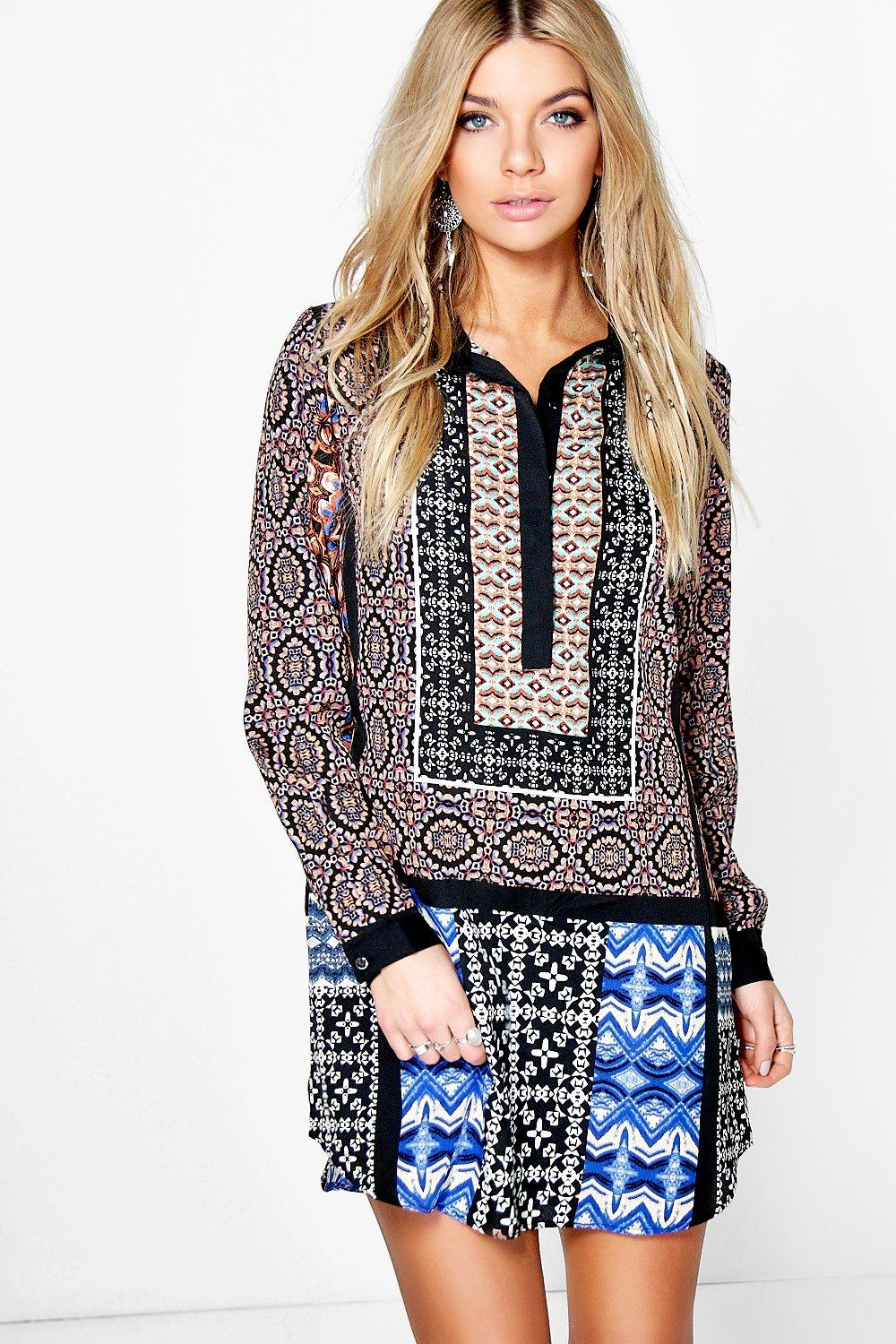 Dianne Mix Print Shirt Dress